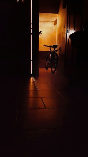 Bicycle Bicycle Commuter Darkness And Light Light And Shadow Light Indoors  Illuminated No People 3XSPUnity Day Contrast EyeEmNewHere Experimentation Dark Background Light Through The Window