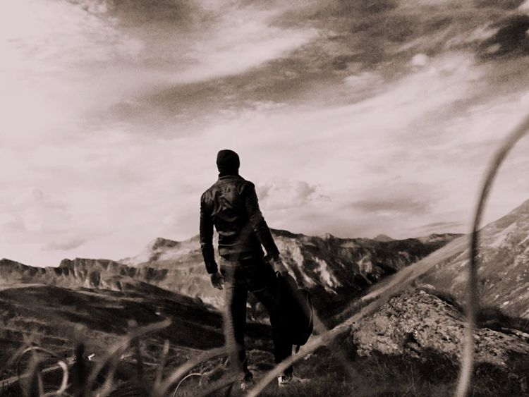 Mountains Alpi Borderline Man Alone Sky And Clouds View Solitude Nature Exploration Rock