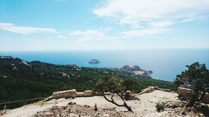 The view from the top of Monilothos Landscape Scenic Scenic View Ocean Outdoors No People Shore Tranquil Scene Waterfront Tranquility Beach Travel Destinations Sea Water Sky Coastline Tourism Vacations Lifestyles Panorama View Neighborhood Map Monolithos Rhodes Greece