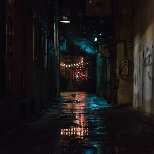 Freemans String Lights Christmas Lights Alley HUAWEI Photo Award: After Dark Puddle Standing Water Reflection Wet Rain Calm