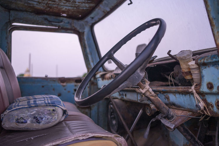 Interior of old abandoned car