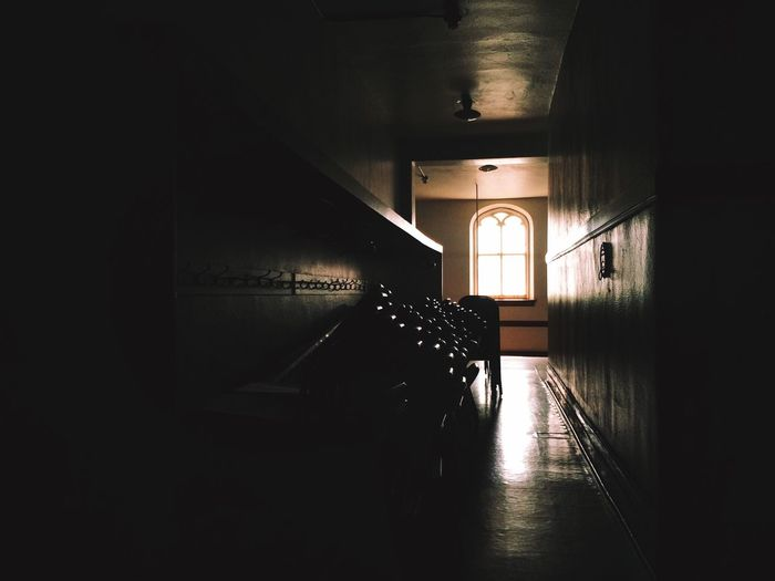 Hallways Old Churches Coat Hooks Sunday School Stacked Chairs Seats Natural Lighting Stained Glass Window Church Halls Heritage Building Architectural Detail Decorative Glass Natural Light
