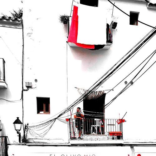 EyeEmNewHere Splash Bnw_life Blackandwhite Houses And Windows Red Dalt Vila