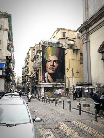 Street Art - San Gennaro... Mytown Mypointofview EyeEm Best Shots Tranquil Scene Tranquility Travel Photography Travel Destinations Streetphotography San Gennaro Naples Napoli Campania Italy Italia Human Representation Male Likeness Statue Car Sculpture Street Architecture City Built Structure Building Exterior Outdoors People Men Day City Street Sky