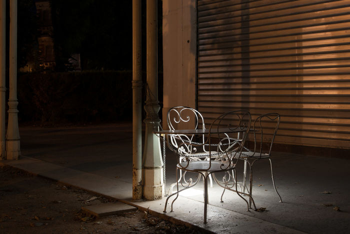 Enchained Gate Abandoned Anti-theft Architecture Built Structure Chair Closed Day Indoors  Night No People Protection Robber Shutter Table Thief Window