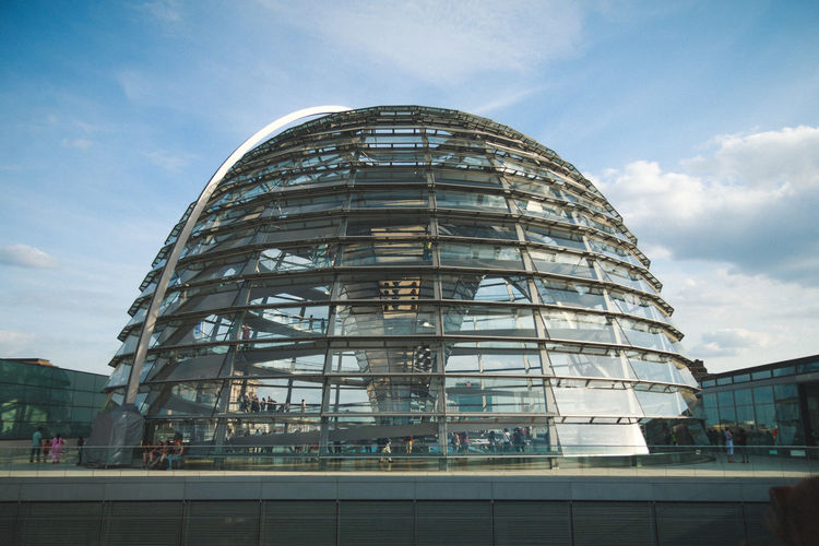 Exterior of the reichstag against sky on sunny day
