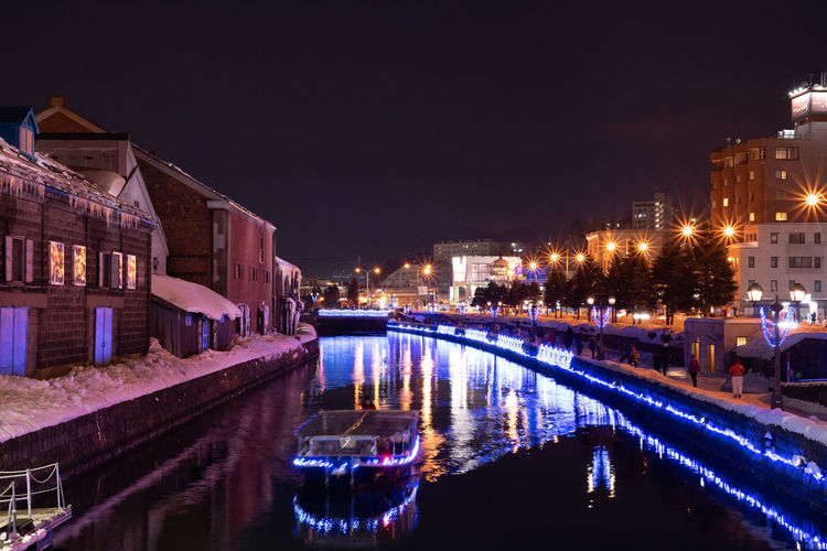 Illuminated Building Exterior Night Water Architecture Built Structure Reflection City Nature Building Waterfront Sky Canal Street No People Transportation Street Light Outdoors Nightlife Hokkaido Otaru Japan