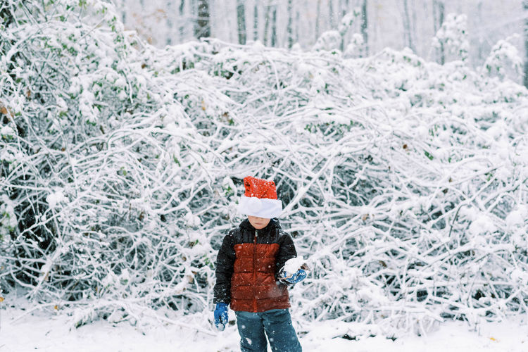 Person standing on snow covered plants