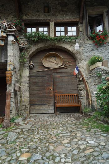 Architecture Wood - Material Door Built Structure No People House Steps Day Building Exterior Outdoors Yvoire Yvoire, France History