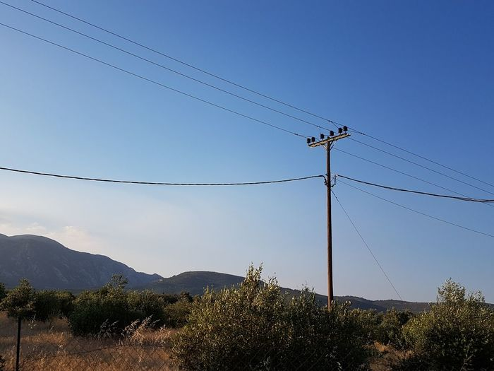 Samos Nature Sky Blue Sky Sunlight Telephone Line Technology Electricity  Cable Clear Sky Mountain Sky