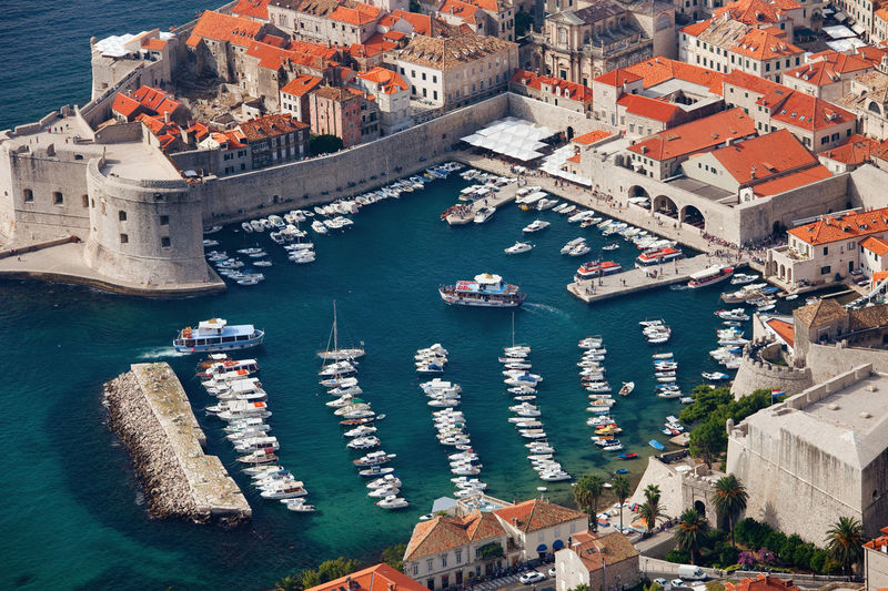 Port in Old City of Dubrovnik, Croatia, aerial view. Aerial View Boats City Cityscape Croatia Dalmatia Dubrovnik Europe Harbor Harbour High Angle View Houses Marina Old City Old Town Portrait Sea Town Travel Travel Destinations Travel Photography Urban Urban Exploration Urbanphotography Water