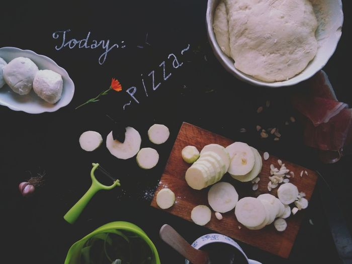 Pizza Dough Ingredients Preparing Food Garlic Zucchini Prosciutto Cutting Board Knife Bowl Food And Drink Indoors  Freshness Healthy Eating No People Table Close-up Baking Time Pizza Time Pizza Vegetables Flat Lay Black Background