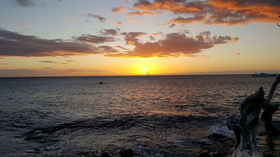 Hawaii Beach Beauty In Nature Cloud - Sky Orange Color Scenics Sky Sunset