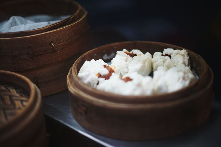 Close-up of food in containers on table