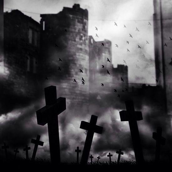 Castle Walls Cementery Of Crosses Dark Art