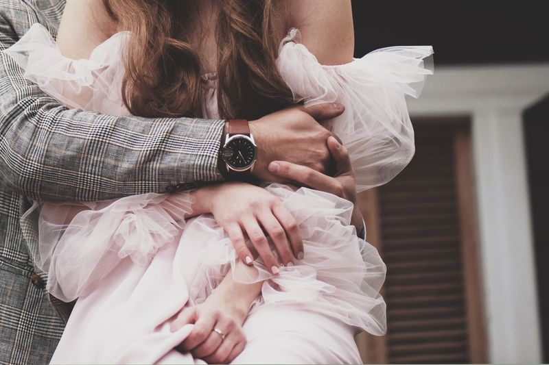 gentle morning of the bride Adult Focus On Foreground Front View Hair Hairstyle Hand Holding Home Interior Indoors  Leisure Activity Lifestyles Long Hair Midsection One Person Real People Sitting Time Watch Women Wristwatch
