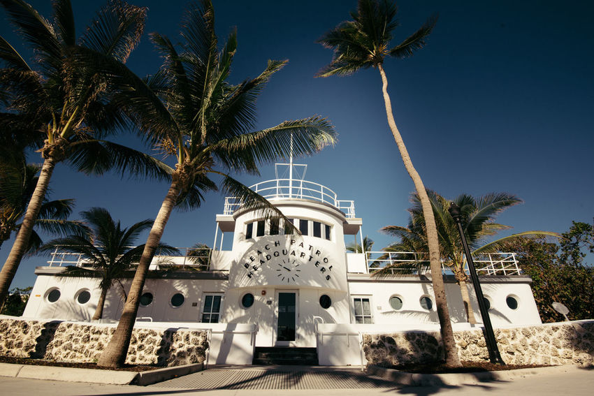 Miami Beach Architecture Beach Patrol Building Exterior Built Structure Clear Sky Day Low Angle View Luxury Hotel Nature No People Outdoors Palm Tree Sky Swimming Pool Tourist Resort Travel Destinations Tree Vacations