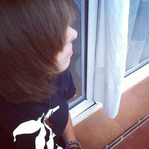 Today's a good day to wear black. Leathershorts AllBlack L DeathNote tshirt love selfie balcony yay window shorthair selca me iamsocuteright teehee!
