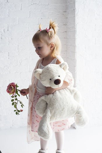 Blond Hair Child Childhood Children Only Cute Day Desaturated Girls Indoors  Nature One Girl Only One Person Only Girls People Teddy Bear