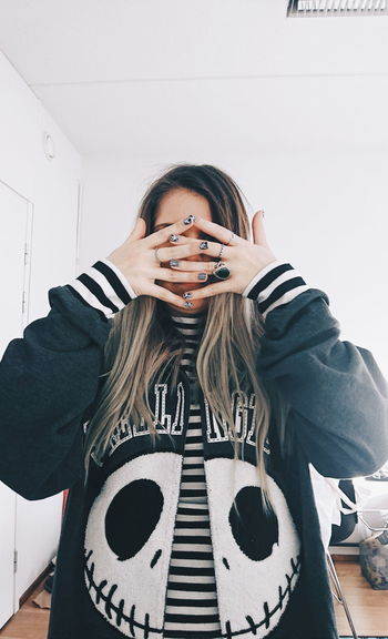 Disney Skellington Jack Hoodie EyeEm Selects One Woman Only Only Women One Person Long Hair Adult Portrait Front View Indoors  Day