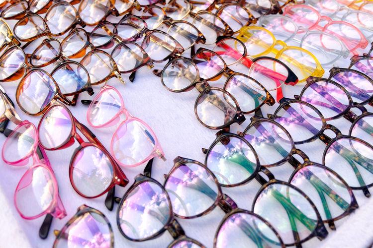 Variety of eyeglasses for sale at market