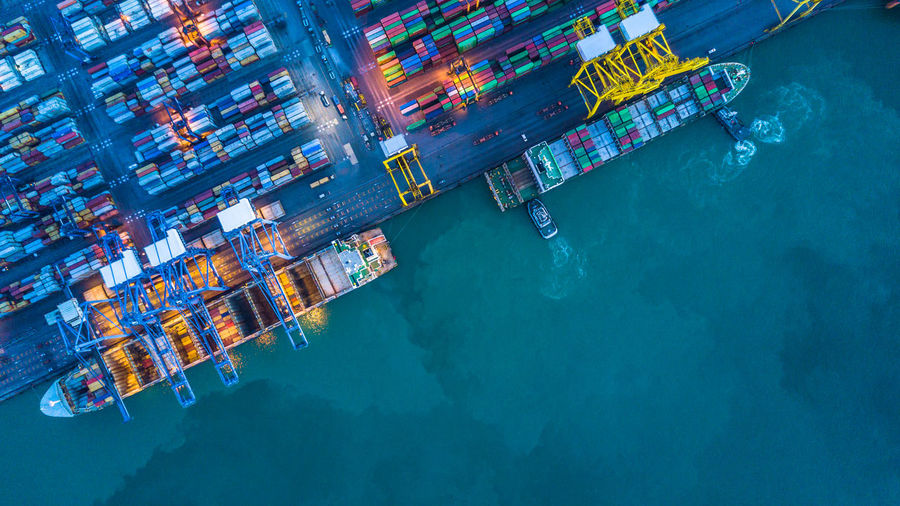 Aerial View Of Container Ship At Harbor