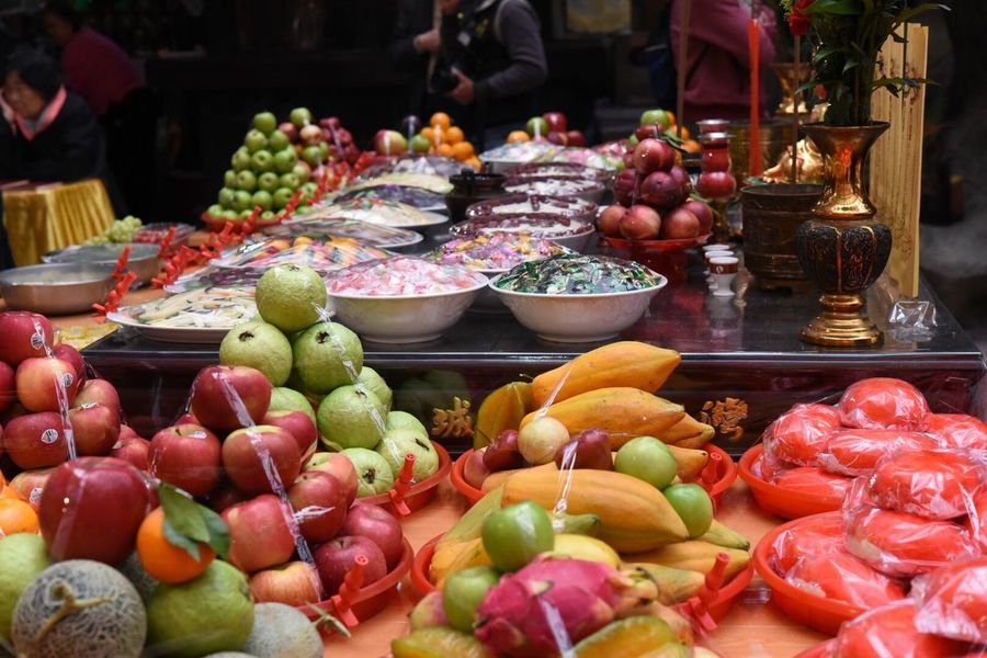 Asian Culture Colorful Offering Ceremony Food Variation Choice Freshness Fruit Arrangement Multi Colored Day Close-up Abundance