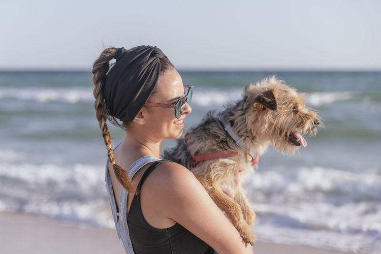 Close-up of a dog on beach