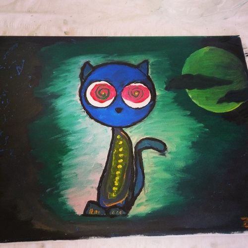 Cat Kedi Yagliboya Acid LSD Oilpaint Cansikintisi Bandirma Tablo Acidcad CAD Salvia Night Horor