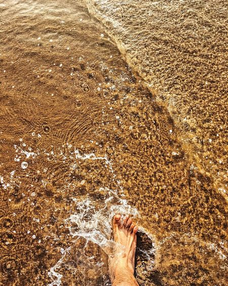 Low Section Of Man Feet On Beach