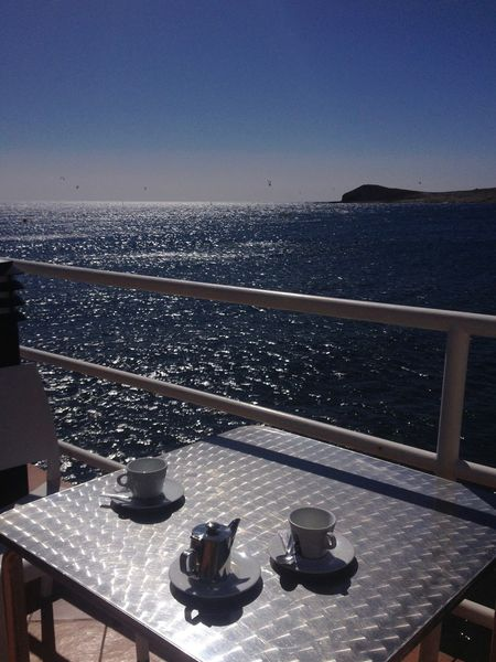 Blue Coffee Coffee Time Cups Horizon Over Water Mountain View No People Ocean Outdoors Sky Still Life Sunshine Tea Tea Time Tenerife Tranquility View Water Breakfast