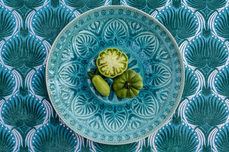 Full frame shot of blue glass on table