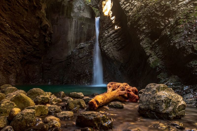 Kozjak waterfall in Slovenia. Water Waterfall Tree Motion Long Exposure Rock - Object Cliff Landscape Natural Landmark Geology Physical Geography