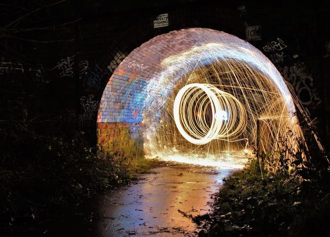 First Steel Wool attempt Abandoned ArtWork Creativity Darkness And Light Fire Grafitti Light And Shadow Night Nightphotography Steel Steelwool Steelwoolphotography Tunnel EyeEm Best Edits Cool_capture_ Graffitiporn Showcase: December Malephotographerofthemonth