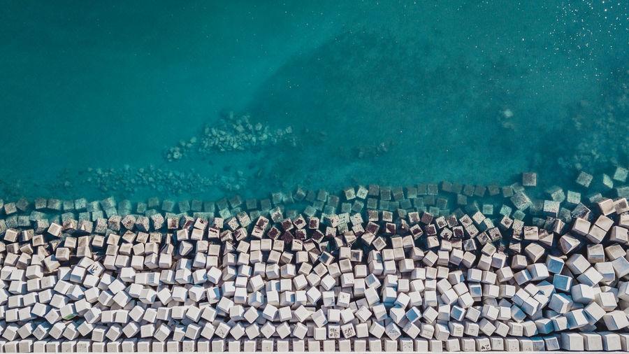 High angle view of starfish on sea shore