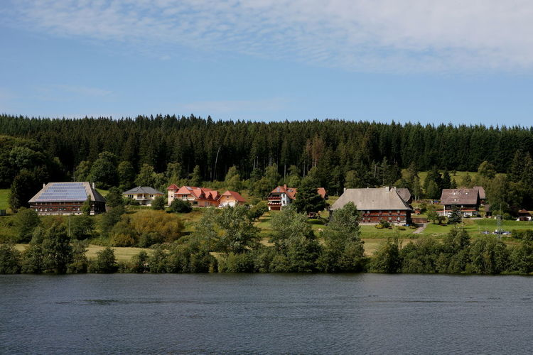 Houses by trees and lake against sky in forest