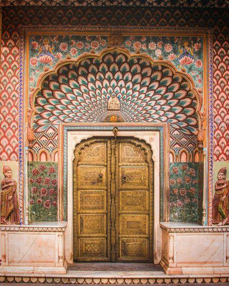 View of closed door of building