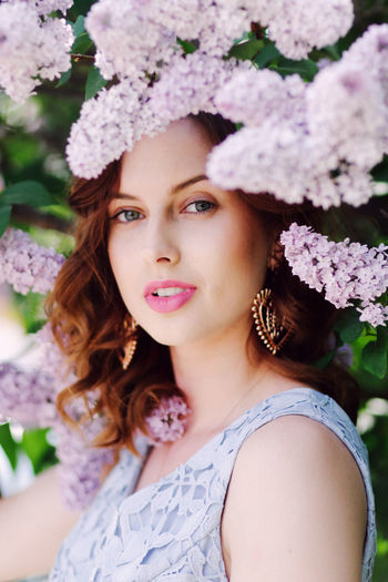 Lips Redhead Woman Beauty Flower Lila Lilac Spring Springtime Woman Portrait