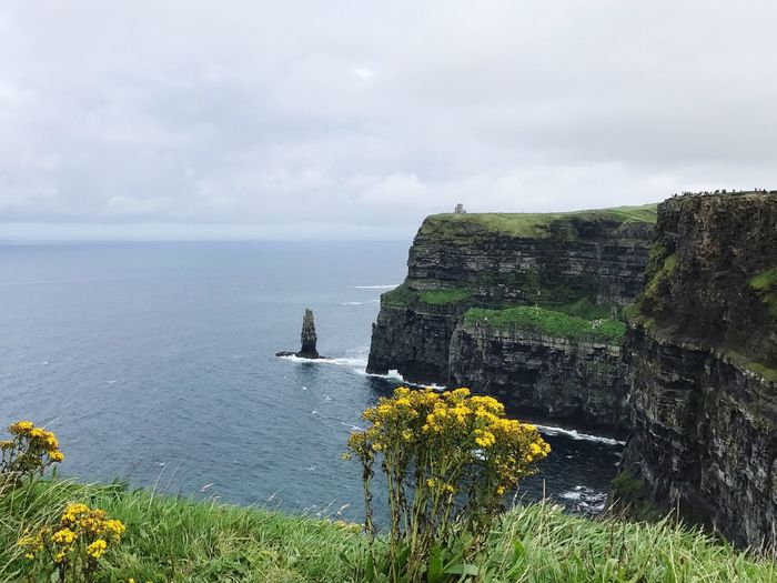 Water Sea Nature Sky Beauty In Nature Rock Formation Scenics Horizon Over Water Rock - Object Day Tranquility Cloud - Sky Outdoors No People Grass Cliff Cliffs Of Moher