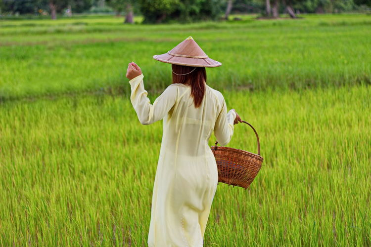 Rear View Of Vietnamese Woman Carrying Basket While Walking At Farm