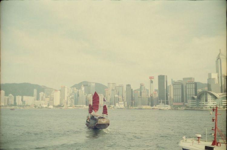 Analogue Photography Architecture Chinese Boat City Cityscape Day Dragon Boat HongKong Hongkong Skyline Nautical Vessel Sea Sky Skyscraper Urban Skyline Water