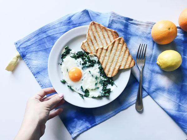 Blue Breakfast Egg Egg Yolk Food Freshness Fried Egg Healthy Eating High Angle View Human Hand Omelette Plate Ready-to-eat