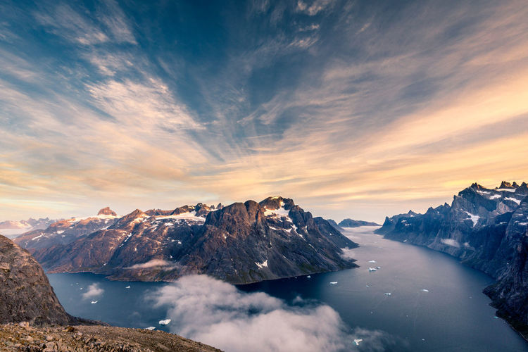 Greenland Beauty In Nature Cloud - Sky Cold Temperature Day Ice Iceberg Idyllic Lake Landscape Mountain Mountain Range Nature No People Outdoors Peak Scenics Sky Snow Snowcapped Mountain Sunset Tranquil Scene Tranquility Water Winter