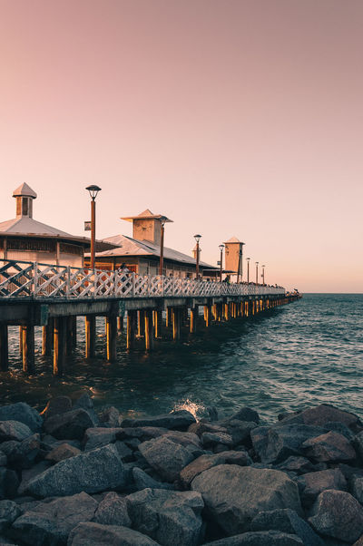 Architecture Building Exterior Built Structure Clear Sky Day Groyne Horizon Over Water Nature No People Outdoors Sea Sky Sunset Water