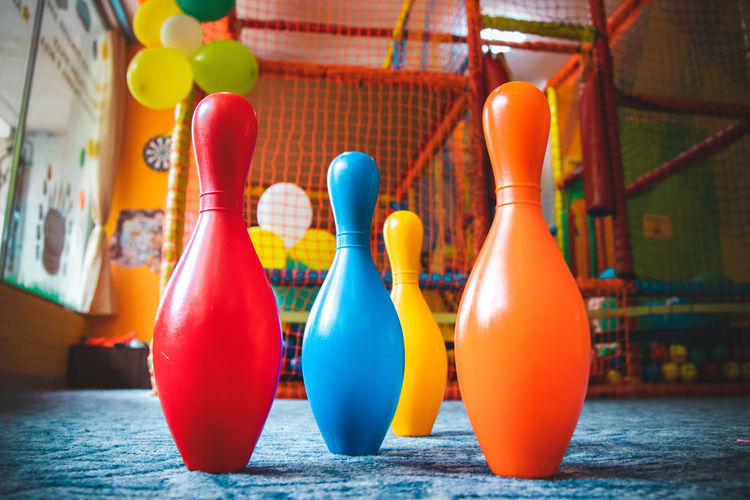 Close-up of multi colored balloons on table