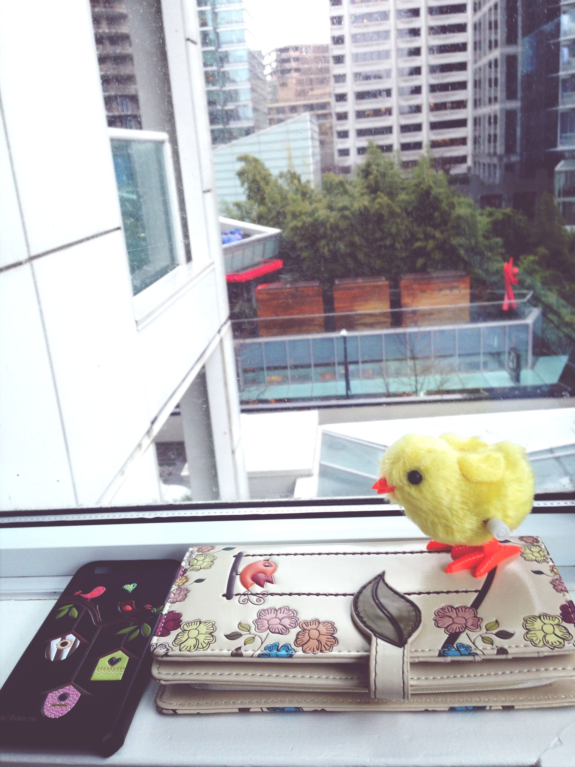 building exterior, architecture, built structure, animal representation, window, city, bird, multi colored, building, day, toy, yellow, low angle view, childhood, outdoors, art, no people, art and craft, balcony, glass - material