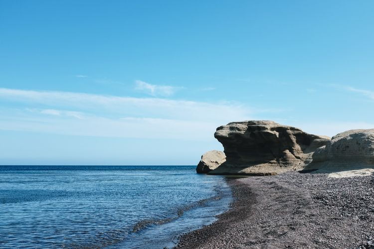 Beauty In Nature Blue Cloud - Sky Day Horizon Horizon Over Water Land Nature No People Rock Rock - Object Rock Formation Scenics - Nature Sea Sky Solid Stack Rock Tranquil Scene Tranquility Water