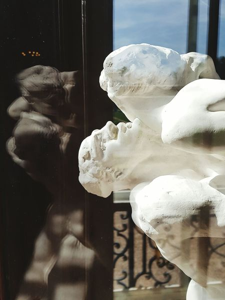 Auguste Rodin statue at Musée Rodin, Paris Window Reflection Looking Through Window Close-up Human Body Part Statues Sculptures