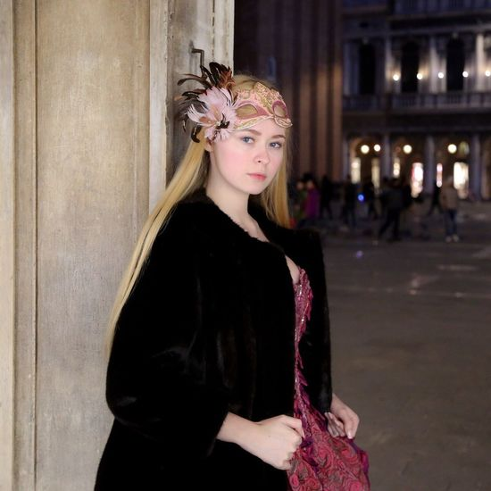 Mary My Daughter Portrait Girl Venice Venice, Italy Carnival Dress Mask Evening Light And Shadow Light Blond Hair Night Nightphotography Night Lights Portrait Of A Woman Young Adult Young Women Beautiful Beauty Standing Looking At Camera San Marco
