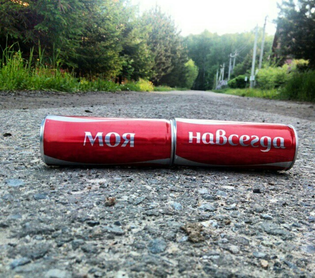 text, communication, red, outdoors, day, road, no people, tree, close-up, nature
